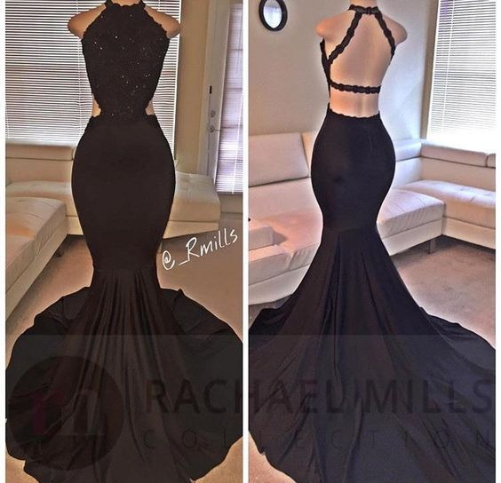 Black Prom Dresses,Mermaid Prom Dress,Lace Prom Dress,Backless Evening Gowns                                                                                                                                                                                 More