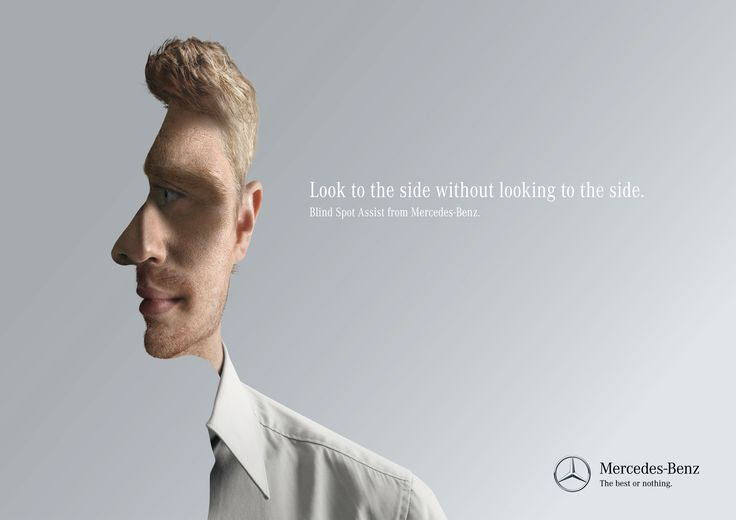"""Interessante Werbung für den """"Blind Spot Assist"""" -""""Look to the side without looking to the side"""" 