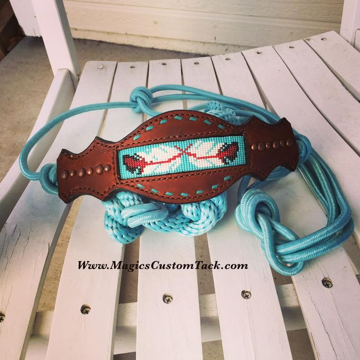 Magics Custom Tack Beaded Turquoise Feather Rope bronc Halter Www.magicscustomtack.com