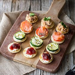 Mini pancake bites with 4 different toppings, it's the perfect party food