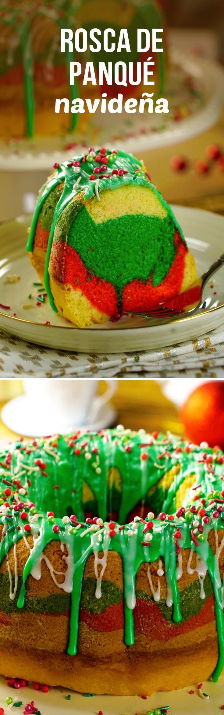 Panqué navideño de colores para preparar con los niños en Navidad.