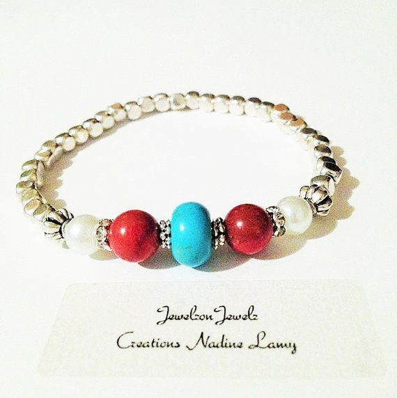 Silver Beads Bracelet//Red Coral Turquoise Pearl by JewelzonJewelz