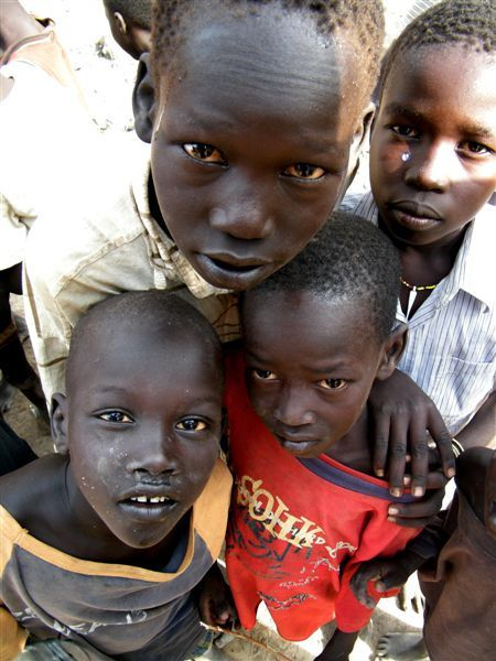 Young boys at a water point in South Sudan.