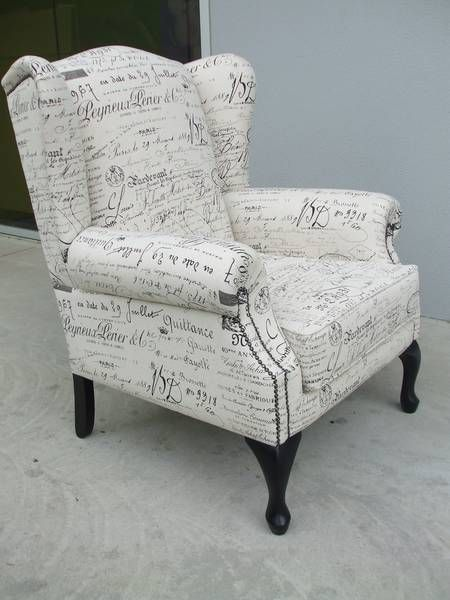 french script wing back...going with art vans Sylvia in linen French script fabric and ebony legs, similar to this design but with a T cushion.