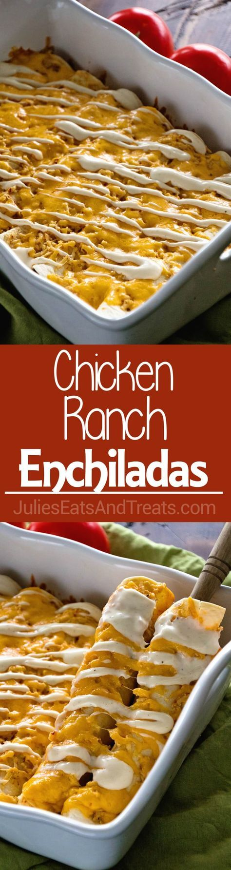 Chicken Ranch Enchiladas ~ Jazz Up Your Weeknight Dinner Enchiladas with a Ranch Twist! Delicious, Easy and Addictive! ~ http://www.julieseatsandtreats.com
