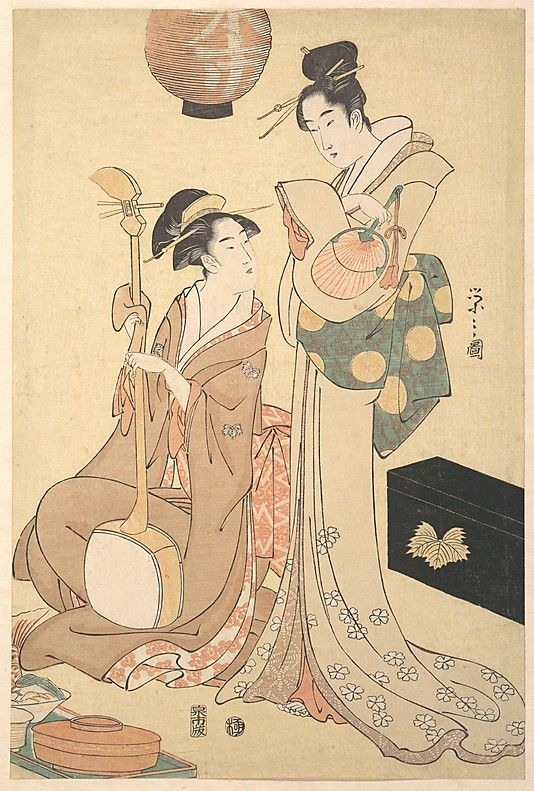 Two Courtesans Chôbunsai Eishi  (Japanese, 1756–1829)  Period: Edo period (1615–1868) Date: ca. 1792 Culture: Japan Medium: One sheet of a triptych of polychrome woodblock prints; ink and color on paper