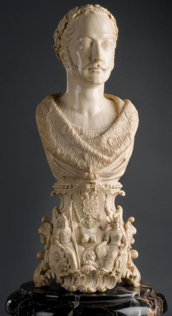 Wilhelm Franzel, 1859. Buste en ivoire représentant le Tsar Nicolas Ier