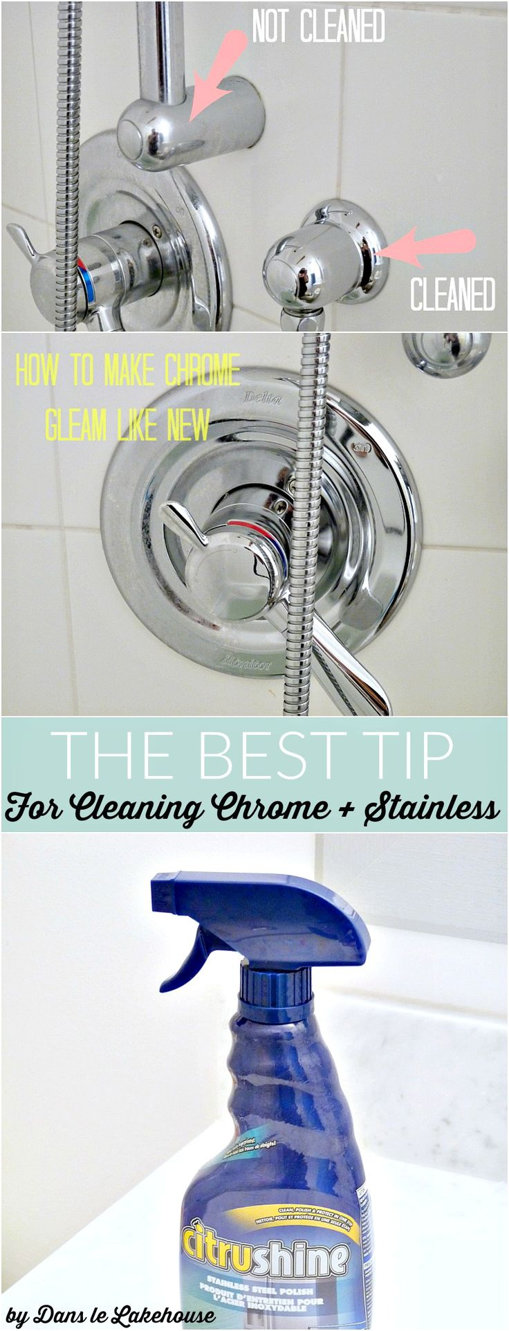 How to clean chrome and stainless faucets and sinks - and keep them from developing water spots! Citrushine product review.