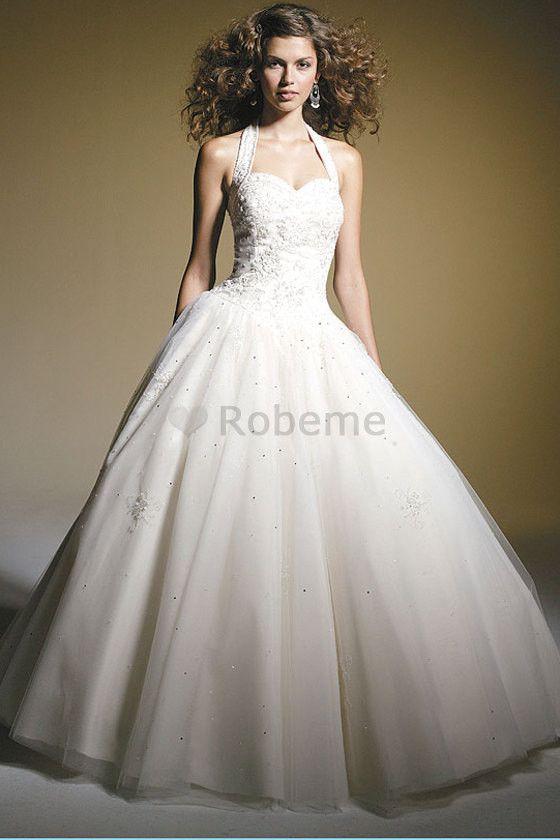 Robe de mariée formelle elégant avec perle de traîne courte ruché