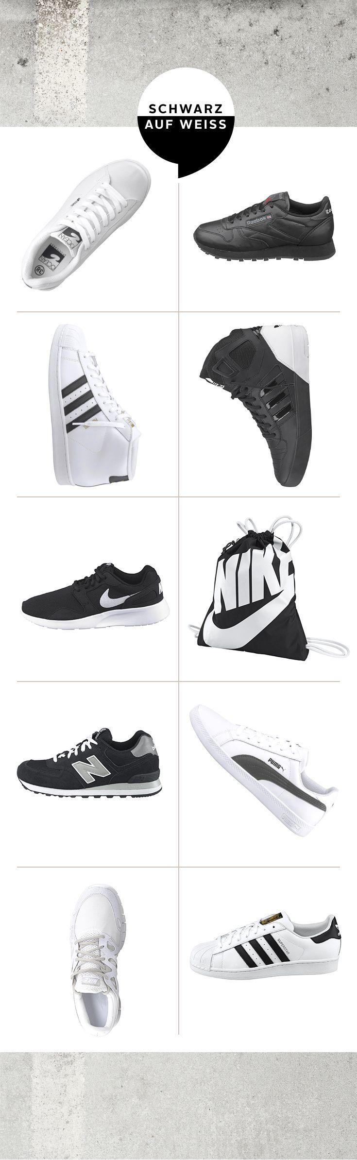 """Low-Top oder High-Top, Retro-Look oder innovatives Design: Die aktuellen Sneaker-Modelle von adidas, Nike, Reebok, Ocean Sportswear, Puma und New Balance gehen mit dem Trend: """"Schwarz auf Weiß"""" ist die Devise! Und damit empfehlen sich die coolen Kultstücke auch direkt als vielseitige Kombipartner für lässige Streetlooks."""