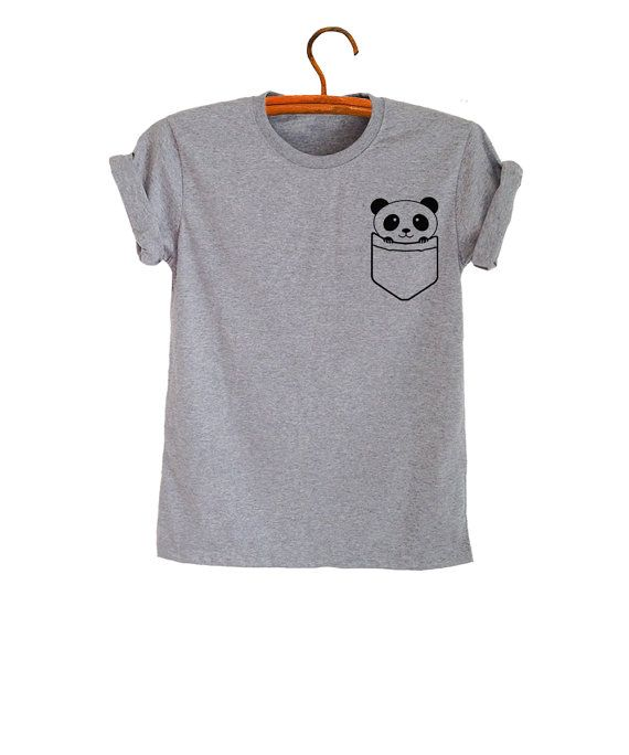 Panda Pocket Tee Shirt Funny Saying Fashion Womens Teen Girl Shirts Cool Grunge Graphic Tee Unisex Mens TShirt Trendy Tumblr Tops Tees
