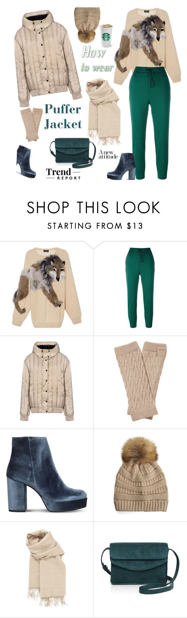 """""""Perfect Puffer Jackets"""" by ellie366 ❤ liked on Polyvore featuring Alena Akhmadullina, Golden Goose, Carven, Pure Collection, Carvela, Hermès, Illesteva, scarf, cashmere and winterstyle"""