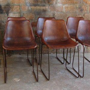 Chaise en acier finition cuir marron antique Vintage sur decoclico 45x45xH80 165€