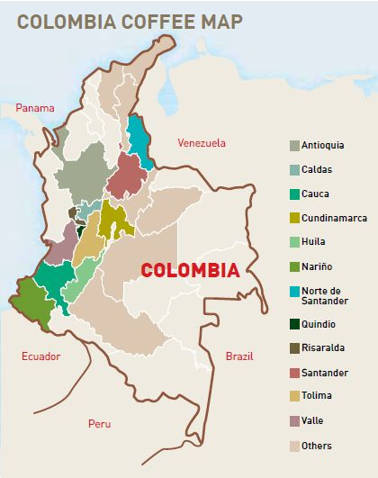 #coffee #map Colombia - Cofi-Com