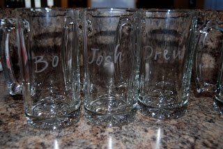 Sparkle: Inexpensive Groomsmen Gift. Etched glass mug.