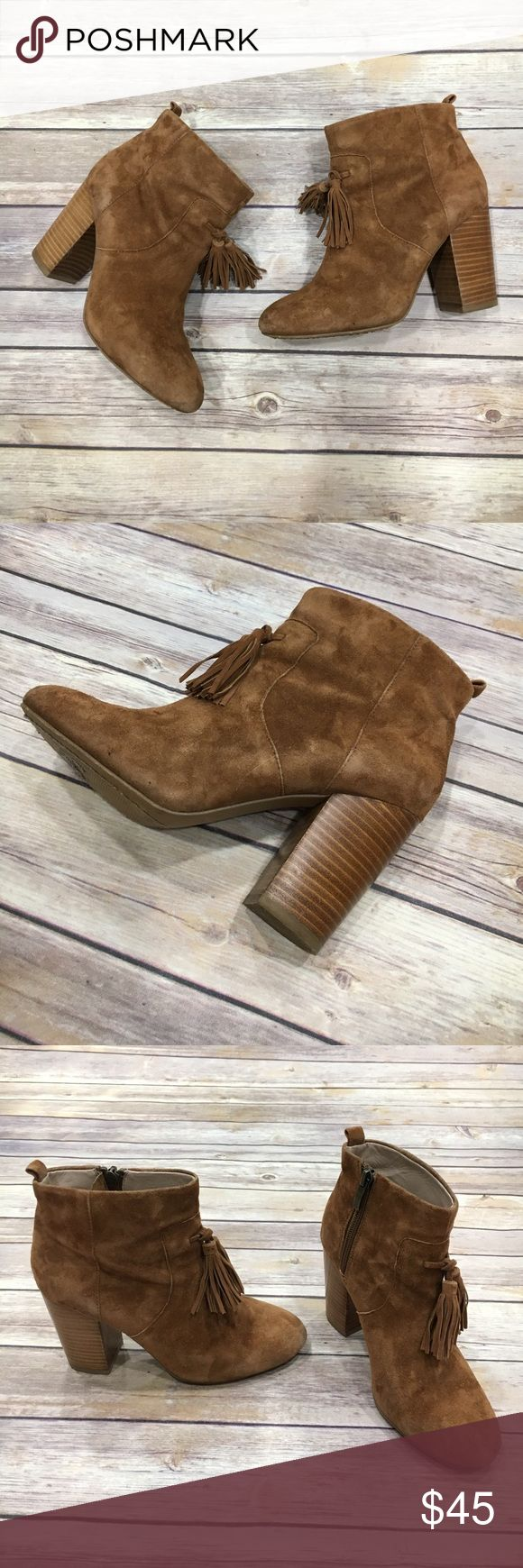 """French Connection Camel Suede Bootie French Connection brown suede bootie with fringe (tassel) detail in the front in a size 5.5. This bootie is perfect for any occasion. About a 3"""" heel. French Connection Shoes Ankle Boots & Booties"""