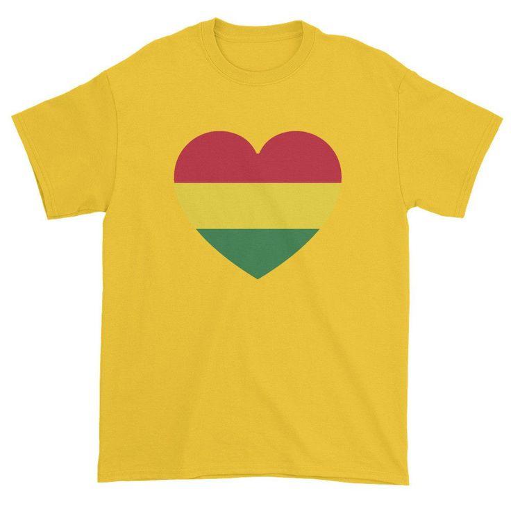 BOLIVIA FLAG HEART - Mens/Unisex short sleeve t-shirt