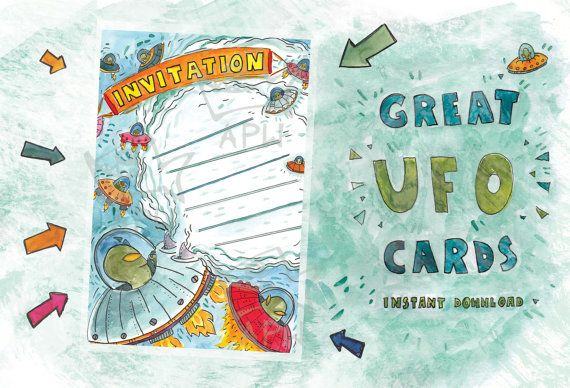 Invitation for party // Original card with UFO  // by PlankArt