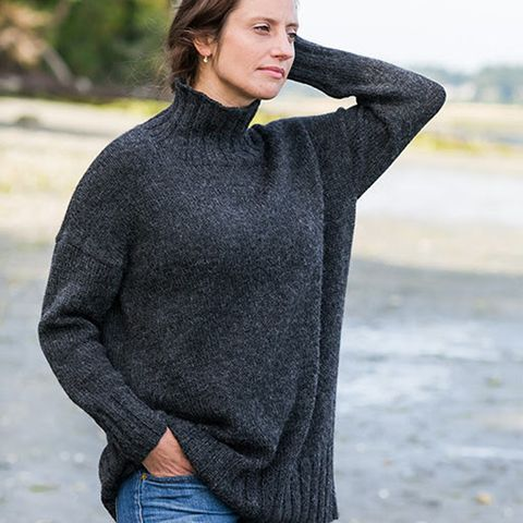 This is a printed pattern that requires shipping. Easily modifiable, this simple sweater pattern can be knit again and again. Experiment with yarn, color, and pattern details with the Better-than-Basi