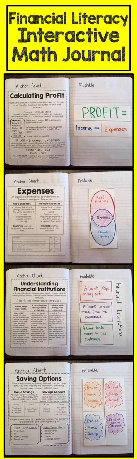 Financial Literacy Math Journal. This interactive math journal has mini anchor charts for students to reference, foldables, extension activities and a quick check for each skill.