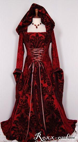 Burgundy red velvet and flock taffeta medieval hooded dress