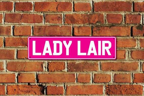 This listing is for one brand new LADY LAIR metal sign, made of aluminium composite material with full colour printing, created by Doozi.