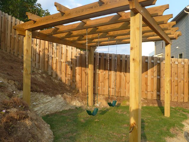 Awesome idea. A great way to have a play space that can later be turned into a nice outside attraction: DIY Pergola Swingest for the Backyard