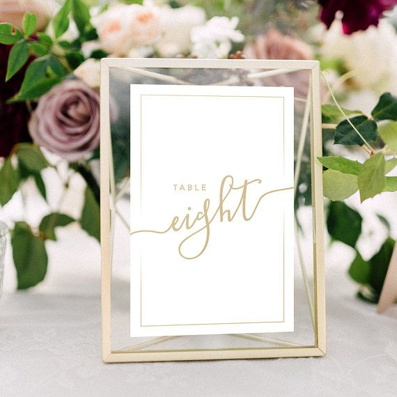 Wedding Table Numbers With Frames Gold Calligraphy Metallic Wedding Centerpieces Geo Framed Table Numbers Wedding Wedding Table Gold Table Numbers Wedding