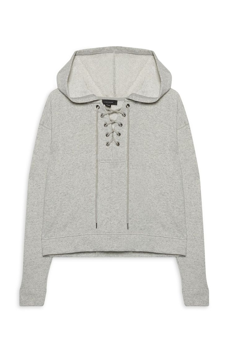 Primark - Lace Up Grey Hoodie