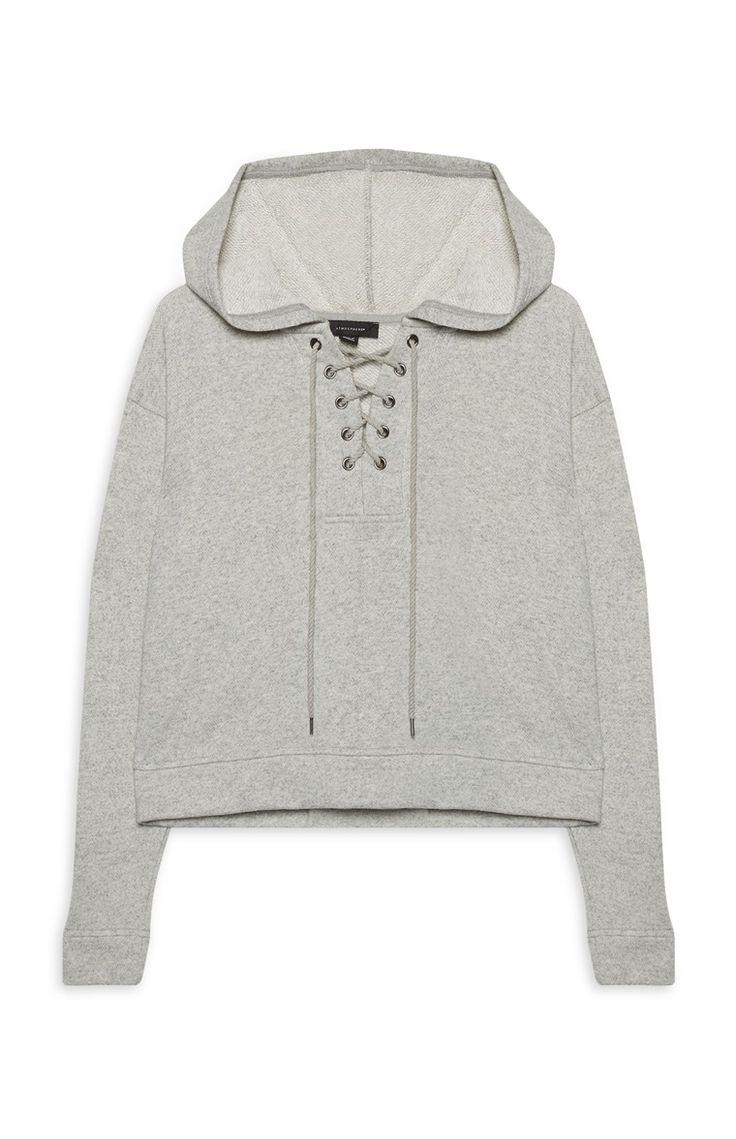 Primark - Lace Up Grey Hoodie