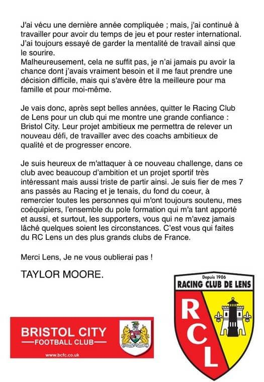 RC Lens  Mercato : Taylor Moore son touchant message dadieu #kora #كورة #koora