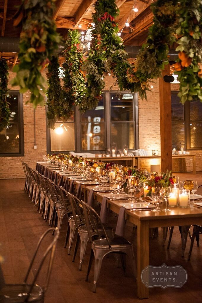 Photo by Artisan Events / Bliss weddings and events / architectual artifacts / Fall Wedding Flowers / Fall Wedding Decor / Chicago Wedding Planner /  Rustic Modern Wedding / Rustic Wedding / Harvest Tables / Industrial Wedding / Warehouse Wedding / wedding greenery