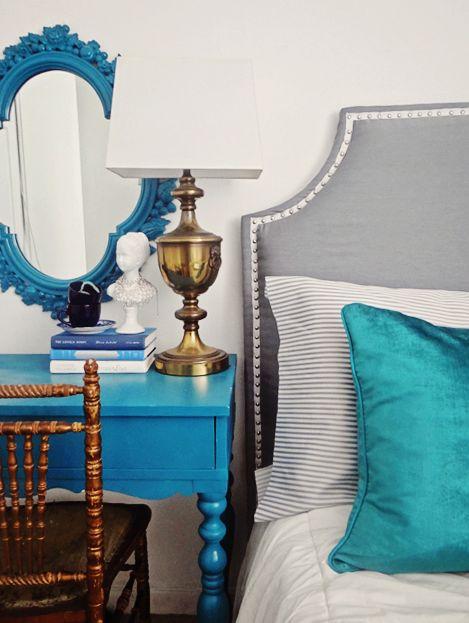 teal bedroom ideas | gray and teal bedroom, teal desk, gray nailhead headboard, brass lamp