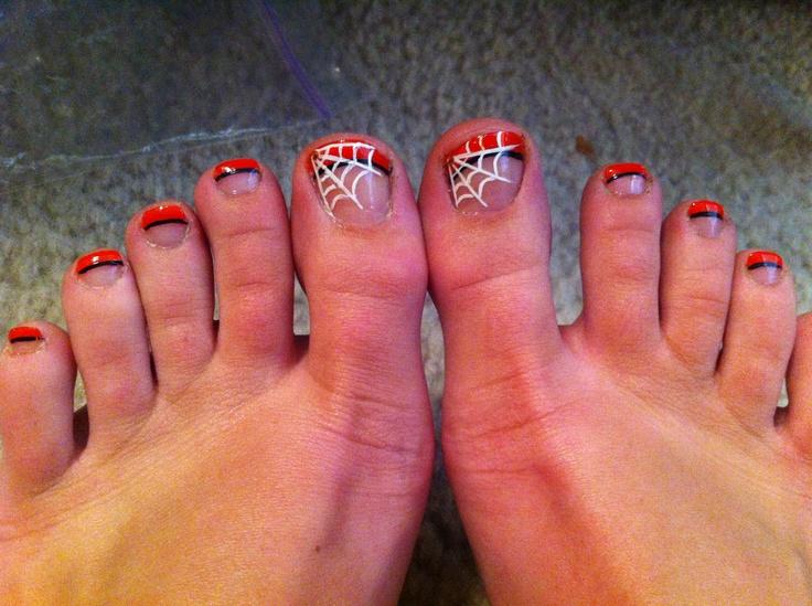 halloween nail art orange tip with black underlining white spider webu2026