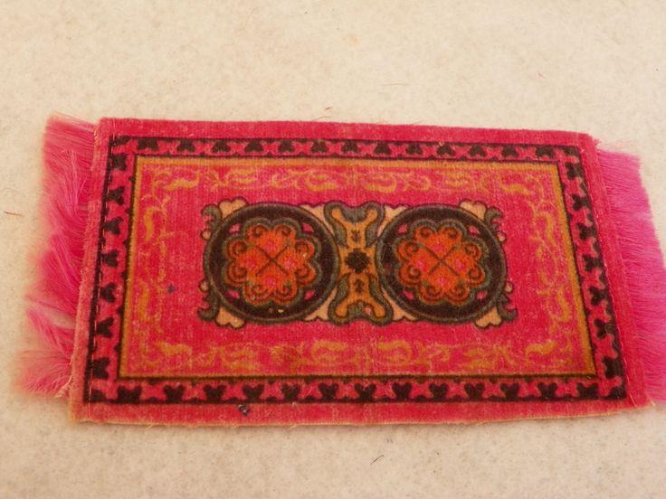 Antique  Dollhouse Persian Pink Miniature Rug , Vintage Silk and Felt Tobacco Carpet , 1:12 1/12 scale Doll House Mat , Cigar Felt  Silks by ShersBears on Etsy
