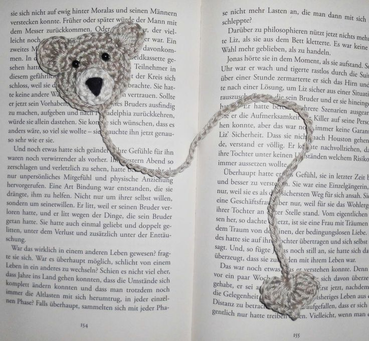 Teddy Bär Herz Buch Lesezeichen Applikation Anhänger gehäkelt Glücksbringer