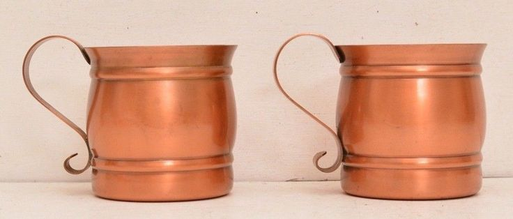 Pair Of Gregorian Solid Copper Mugs Mid Century Barware Moscow Mule Vtg Party