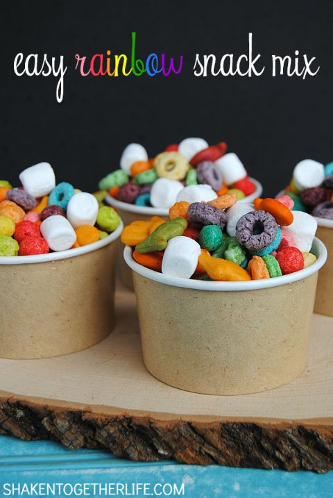Make a fun snack mix with assorted rainbow colored tasty treats! This easy colorful Rainbow Snack Mix is perfect for St. Patricks Day
