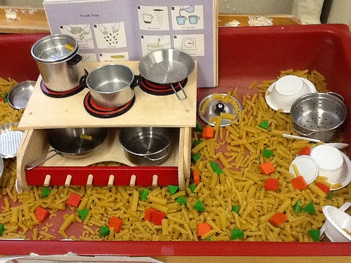 Pasta, Pattern Blocks, Pots & Pans, Recipe Book, Oven. this looks like something good for the sensory table