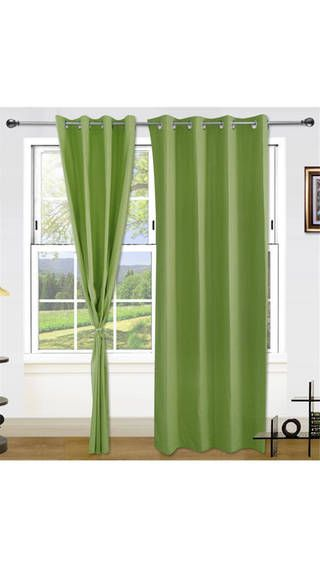 Dekor World Brings 100% Cotton Curtain Of Green Colour Beautifully Adds Simple Elegance To Any D Cor. The Cotton Material Used Is Of 144 GSM. The Iron Eyelets Are Of High Quality To Last Long. The Packet #Includes #2Pcs Of #Cotton #Curtains. It S A Semi-#Transparent Fabric Which #Protect 70-80% #Sun #Light.