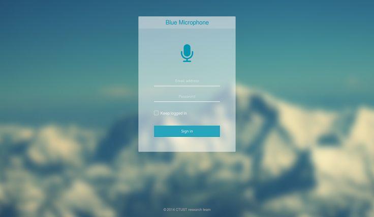 Blue Microphone - Login page design | My Creatures | Pinterest ...