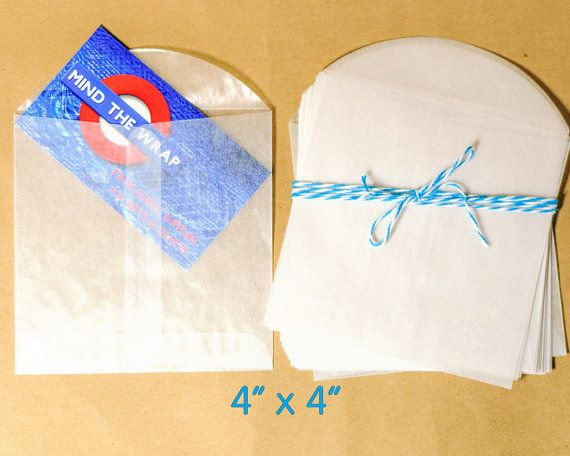"50 - 4"" x 4"" Square Glassine Envelopes - Translucent - Acid-Free - for  party favors, packaging, scrapbooks and more                more"