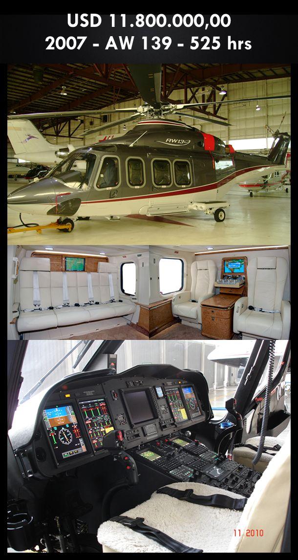 Aeronave à venda: Agusta Westland AW 139 2007, 525 hrs, USD 11.800.000,00. #agusta #agustawestland #aw139 #airsoftanv #aircraftforsale #aeronaveavenda #pilot #piloto #helicoptero #aviation #aviacao #heli #helicopterforsale  www.airsoftaeronaves.com.br/H155