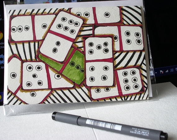 AAA Domino lovers blank sharing greeting  card, stationery, 5x7, Zentangle Art via Etsy
