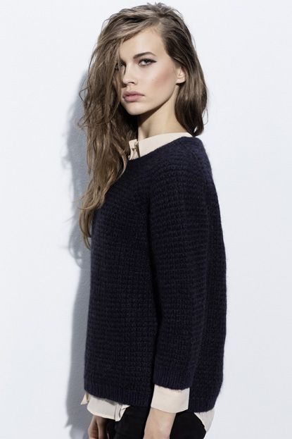 A boxy fitted knit with 3/4 raglan sleeves and a round neckline. The beautiful blue and copper lurex thread all over the jumper makes it sparkle; a wardrobe treasure for sure! Available online: http://www.sofinah.fi/product/336/jumper-anne-navy-lurex