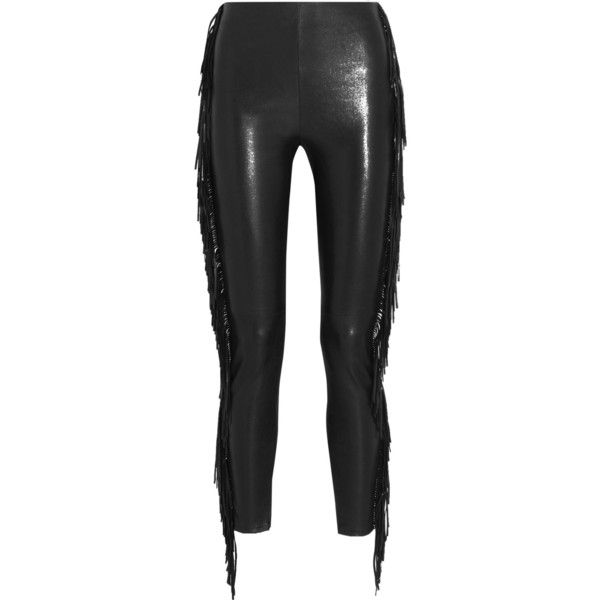 Saint Laurent Fringed leather skinny pants ($2,695) ❤ liked on Polyvore featuring pants, black, fringe pants, black trousers, leather pants, skinny pants and black skinny trousers