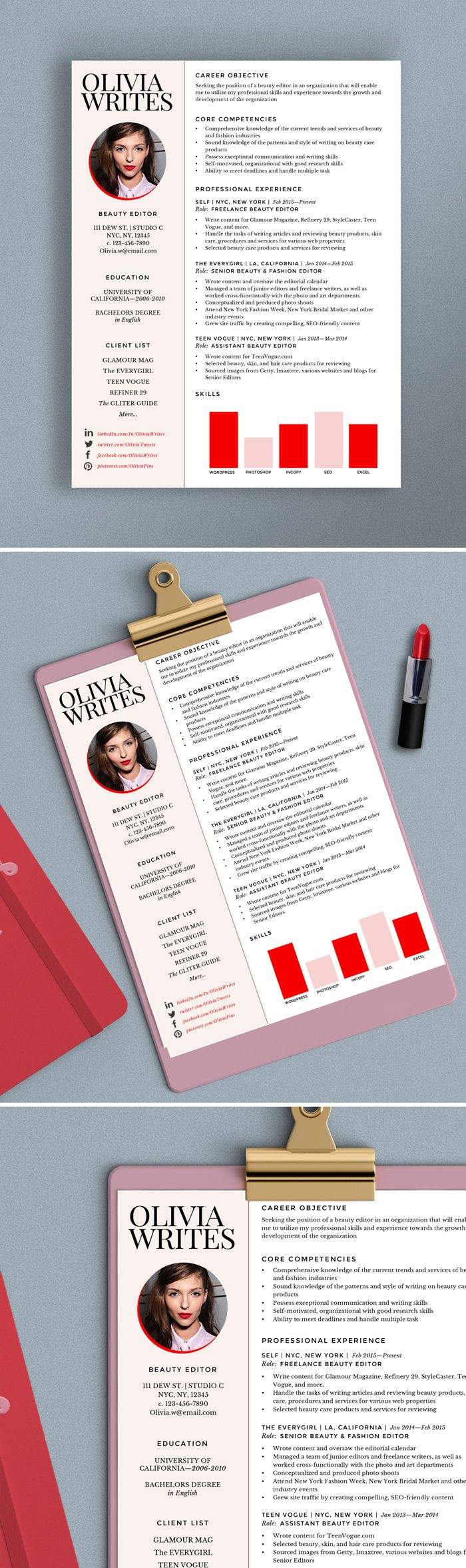 Fully Editable Modern U0026 Feminine Résumé Template Design | Beauty Editor,  Fashion Editor, Writer