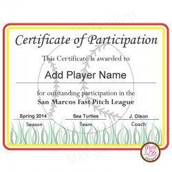printable softball certificates