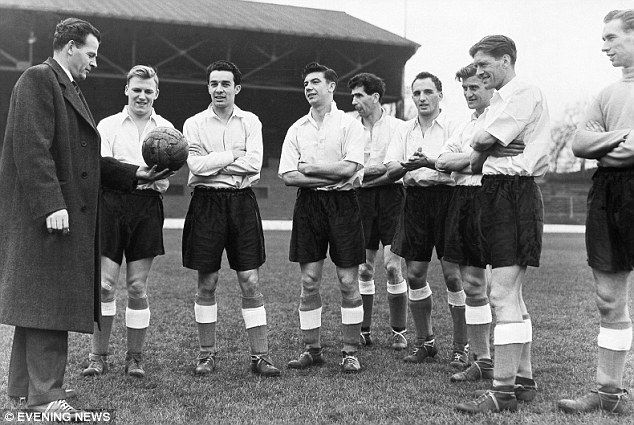 Two future Wolves managers at England training, second player from right, Ronnie Allen and fifth Bill McGarry