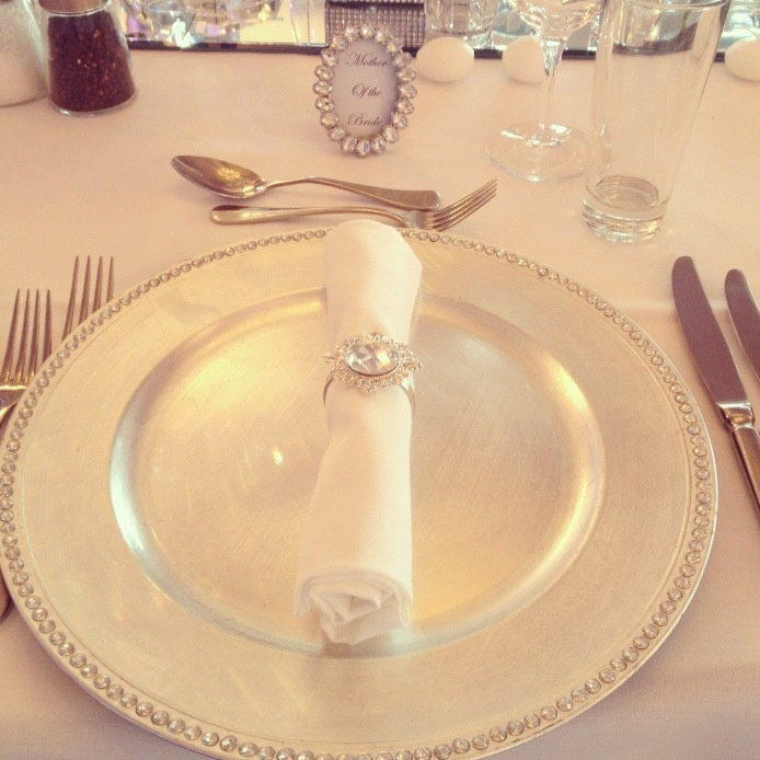 Diamonte charger plates and bling napkin rings!